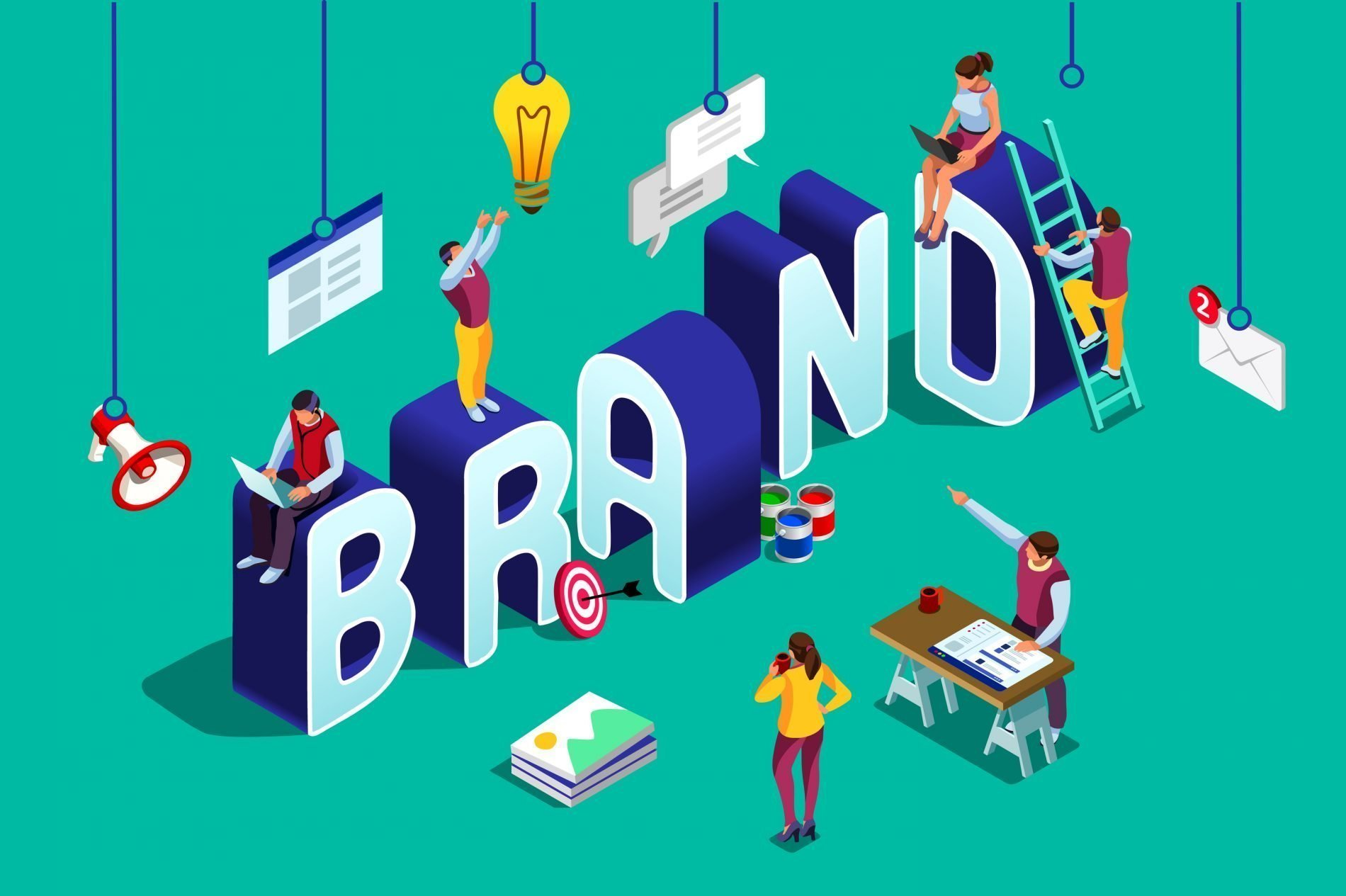 A vector image of people working on design with text of brand being constructed
