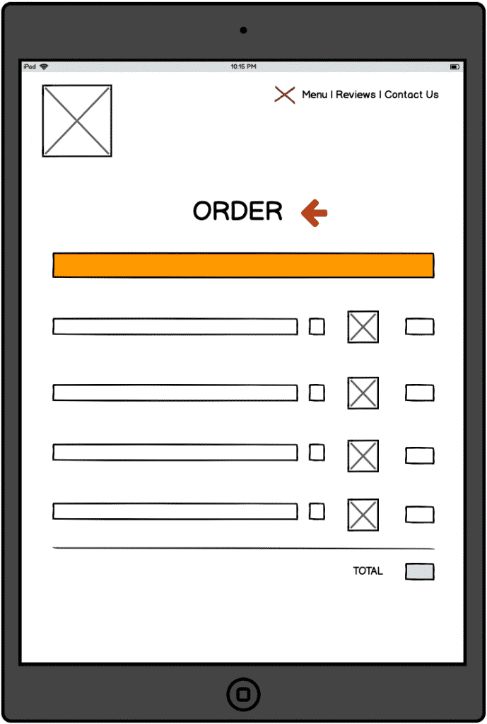 Touchscreen-device-showing-wireframe-of-ordering-UX-from-the-restaurant